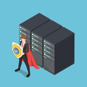 플랫 3d 아이소메트릭 슈퍼 사업가가 데이터 센터 서버 랙을 보호하는 방패를 들고 있습니다. 데이터베이스 보안 및 ddata 보호 개념.