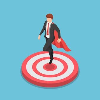 Плоские 3d изометрические супер бизнесмен, приземляющийся на цель. бизнес-цель и концепция лидерства.