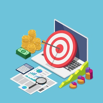 Flat 3d isometric target with arrow hit the center on laptop with business data analysis. target audience and business strategy concept.