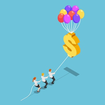 Flat 3d isometric team pulling floating dollar sign with balloon