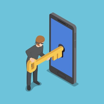 Flat 3d isometric thief or hacker use key to hack into smartphone. hacker and cyber security network concept.
