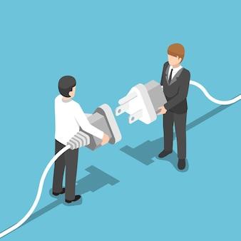 Плоские 3d изометрические двух бизнесменов, соединяющих вилку вместе. концепция бизнес-связи.