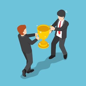평평한 3d 아이소메트릭 두 사업가가 우승자 트로피를 위해 싸우고 있습니다. 비즈니스 경쟁 개념입니다.