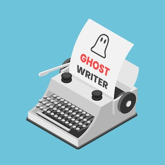 Flat 3d isometric typewriter with words ghostwriter on paper sheet. ghostwriter and content marketing concept.