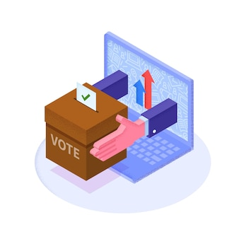 Flat 3d isometric voting paper in a ballot box that come out from laptop monitor