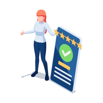 Flat 3d isometric woman customer writing a comment and giving five star feedback on smartphone. customer feedback and user experience concept