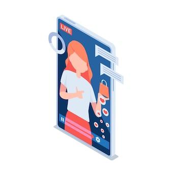 평면 3d 아이소메트릭 여자 검토 또는 라이브 스트리밍을 통해 그녀의 제품을 판매합니다. 인플루언서 마케팅 및 라이브 스트리밍 전자 상거래 개념.