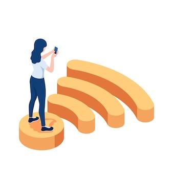 평면 3d 아이소메트릭 여자는 wifi 기호에 서 있고 스마트폰을 사용합니다. 인터넷 연결 및 무선 통신 개념입니다.