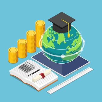 Flat 3d isometric world and graduation cap on the digital tablet with stationary. global online education and e-learning concept.
