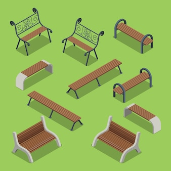 Flat 3d isometry isometric city urban objects collection