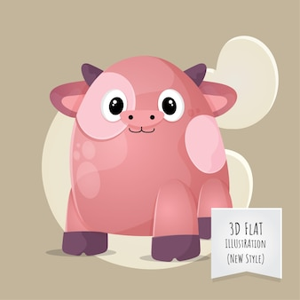 Flat 3d style animal baby cow illustration for kids