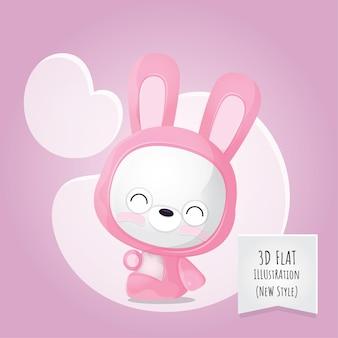 Flat 3d style animal bunny illustration for kids