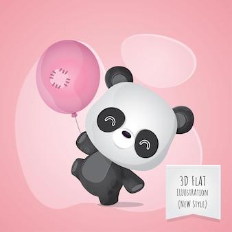 Flat 3d style animal panda illustration for kids