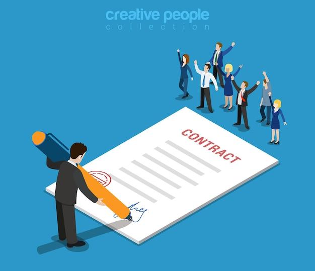 플랫 3d 웹 아이소 메트릭 계약 서명 및 캐주얼 마이크로 사람들 인포 그래픽 개념