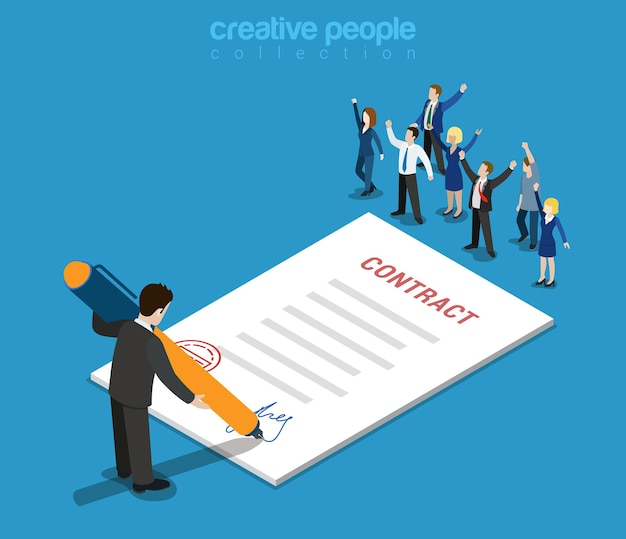Flat 3d web isometric contract signature and casual micro people infographic concept
