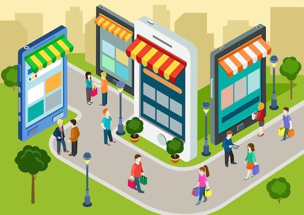 Плоские 3d веб-изометрические электронная коммерция электронный бизнес онлайн-покупки с мобильных устройств
