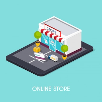 Flat 3d web isometric online shopping. e-commerce, electronic business, online shopping, payment, delivery, shipping process, sales