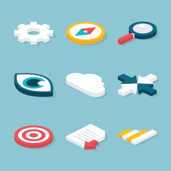 Flat 3d website isometric objects set. vector website and business concepts icons set