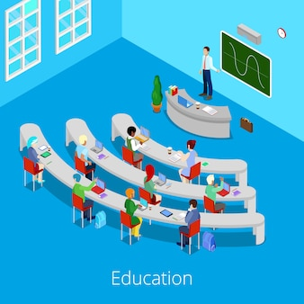 Изометрический учебный процесс. flat 3d университетская аудитория с преподавателем и студентами.