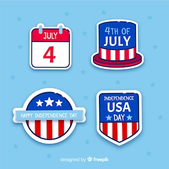 Flat 4th of july badge collection