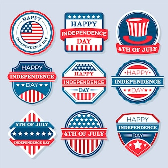 Flat 4th of july independence day badge collection