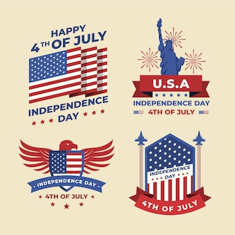 Flat 4th of july - independence day badge collection