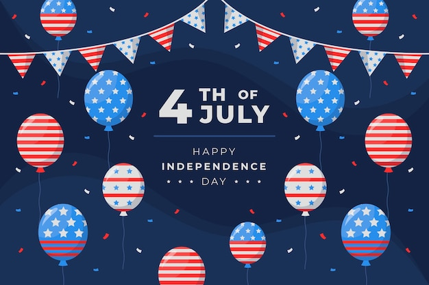 Flat 4th of july independence day balloons background
