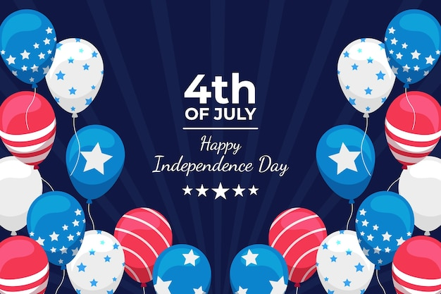 Flat 4th of july - independence day balloons background