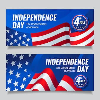 Flat 4th of july - independence day banners pack