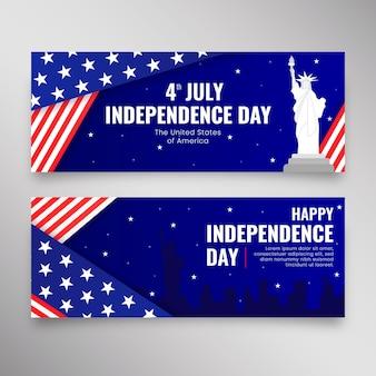 Piatto 4 luglio - set di banner per il giorno dell'indipendenza