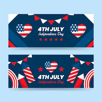 Flat 4th of july - independence day banners set