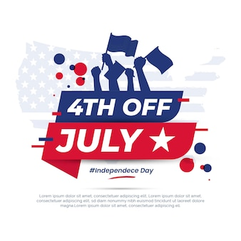 Flat 4th of july independence day illustration