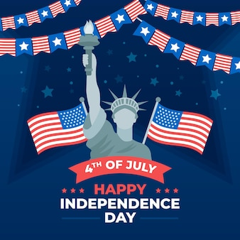 Flat 4th of july - independence day illustration Premium Vector