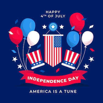 Flat 4th of july - independence day illustration