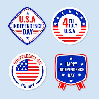 Flat 4th of july - independence day labels collection