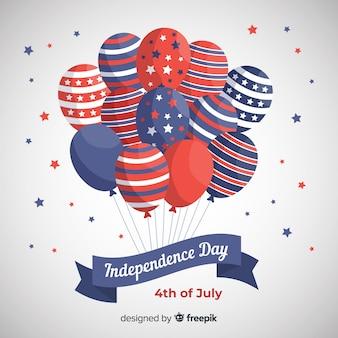 7月 - 風船で独立記念日の背景の平らな第4回