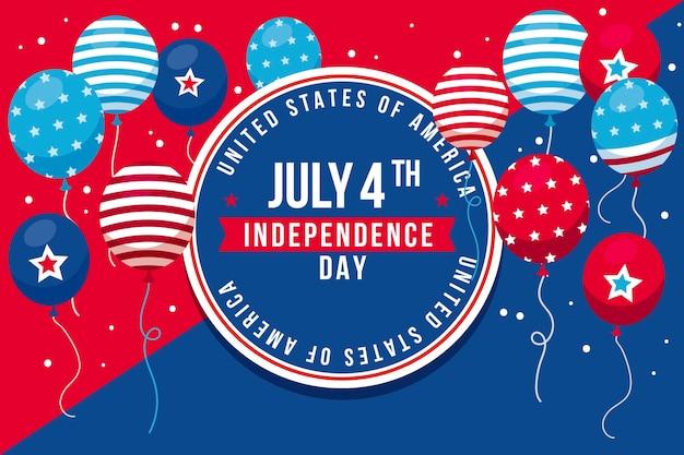 7月4日のフラット-独立記念日の風船の背景