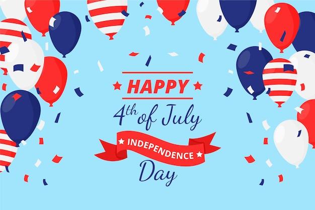 7 월 독립 기념일 풍선 배경의 평면 4