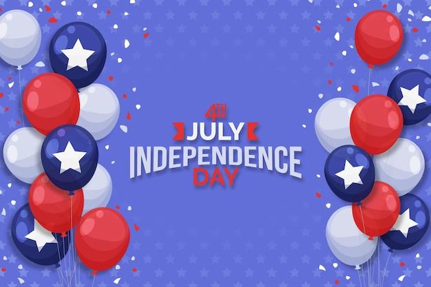 7月の独立記念日の風船の背景のフラット4日