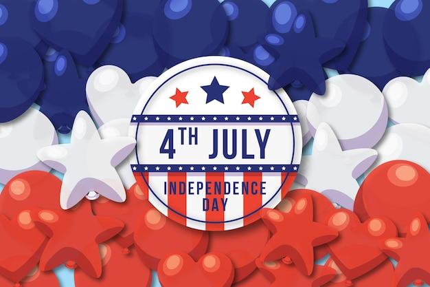 Плоский 4 июля день независимости воздушные шары фон