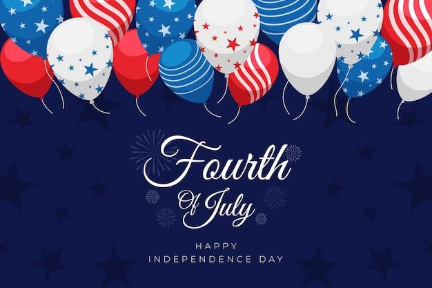 7月のフラット4日-独立記念日の風船の背景