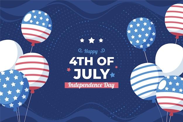 7 월 4 일 플랫-독립 기념일 풍선 배경