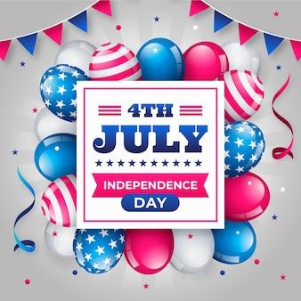 7月の独立記念日の風船背景のフラット4