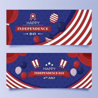 Набор плоских баннеров дня независимости 4 июля