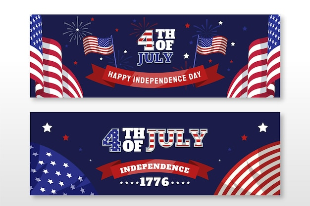 7月のフラット4日-独立記念日のバナーセット