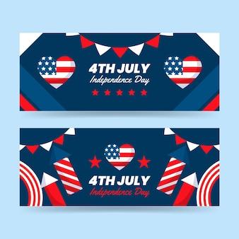 7 월 4 일 플랫-독립 기념일 배너 세트