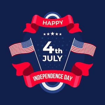 7月独立記念日のイラストのフラット4日