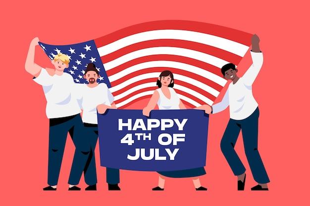 Плоский 4 июля день независимости иллюстрации
