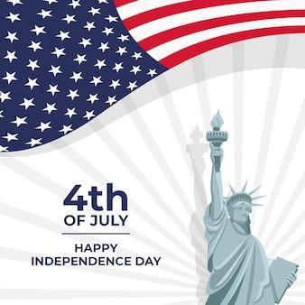 7月のフラット4日-独立記念日のイラスト