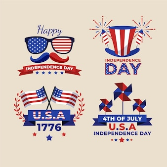 7 월 4 일 플랫-독립 기념일 라벨 컬렉션